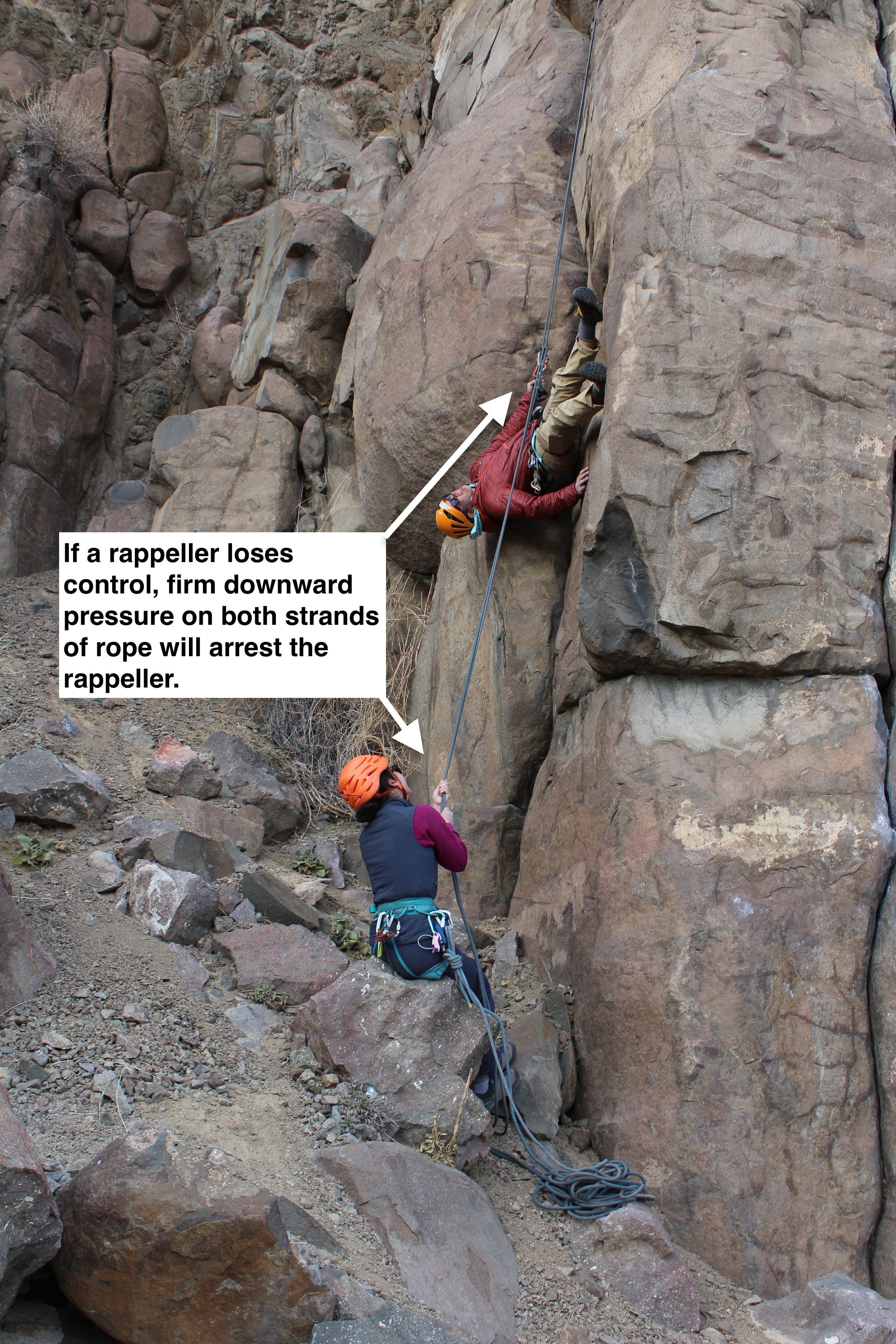 When rappellers lose control it happens quickly and unexpectedly, but a quick and firm tug on the brake strands will bring the rappeller to a halt.