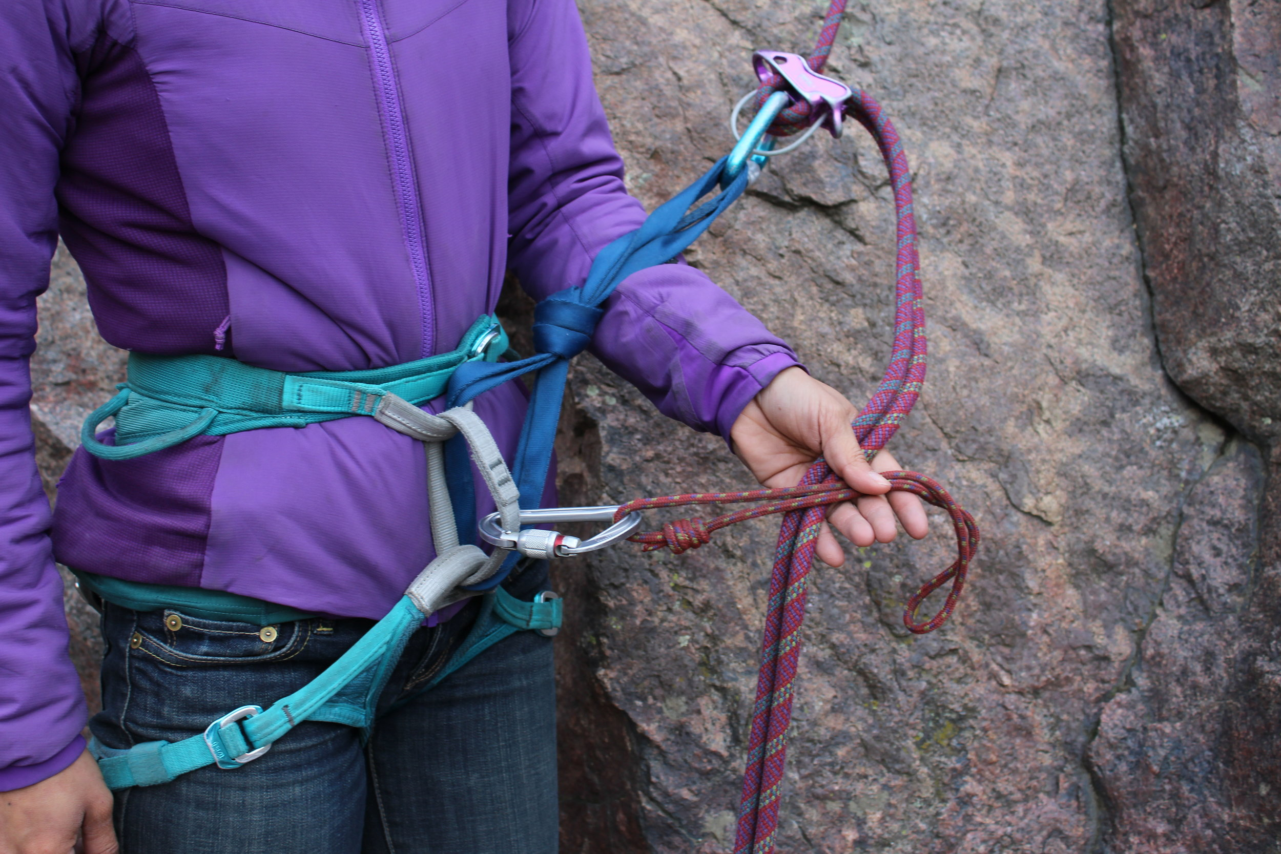 An autoblock friction hitch is a great option when tying a rappel backup. A small loop of 5mm nylon can be quickly deployed for the task.