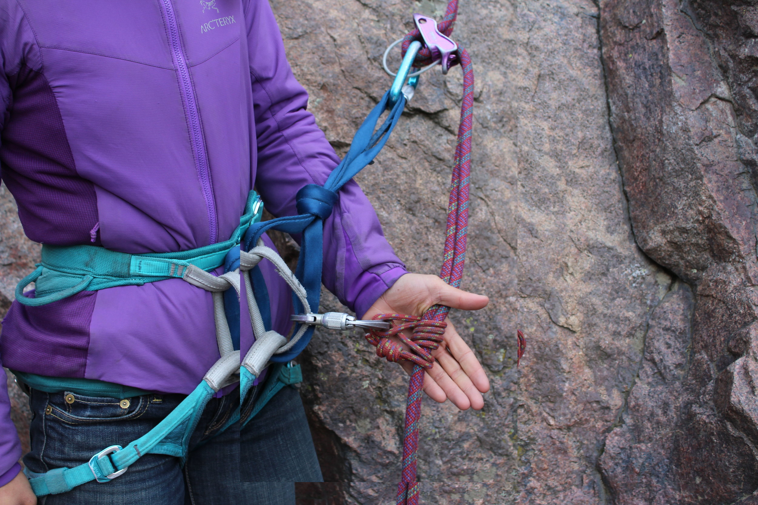 ...and the autoblock is completed by rejoining the nylon loop with the locking carabiner.