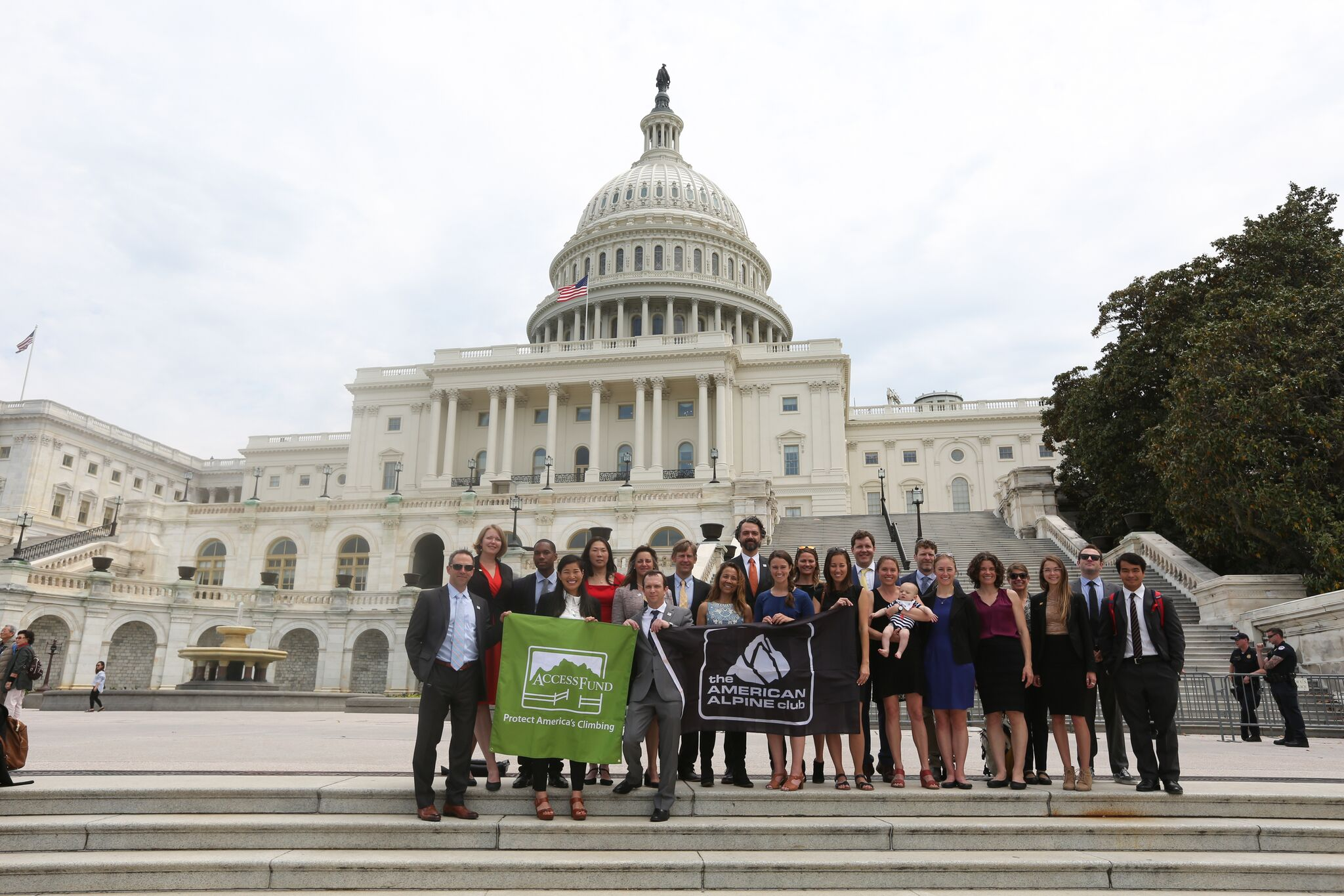 Members of the lobbying and media crews in front of Capitol Hill. Stephen Gosling photo.