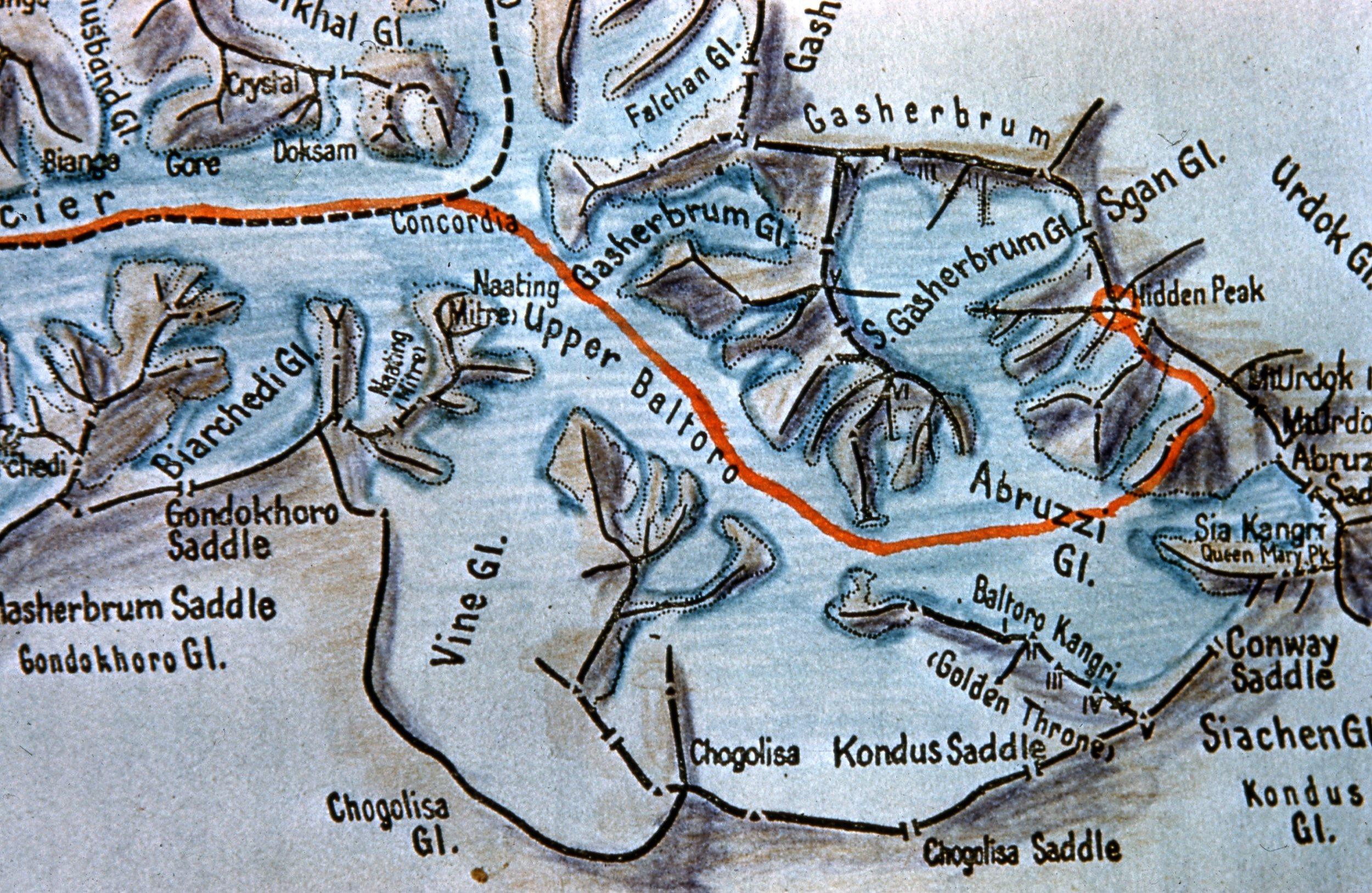 1958 American Karakoram Expedition Map
