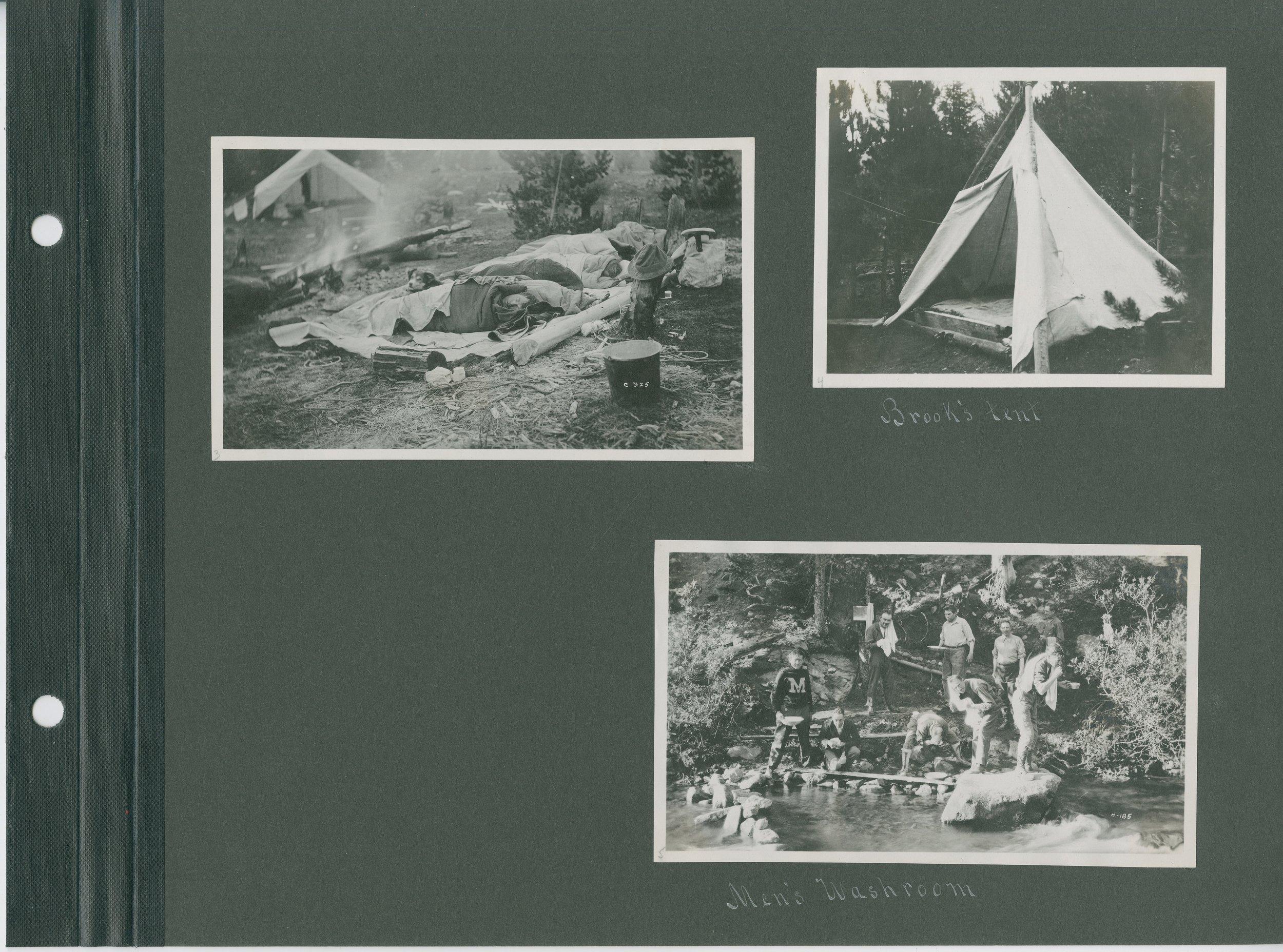 Top right: Brook's Tent, Bottom: Men's Washroom