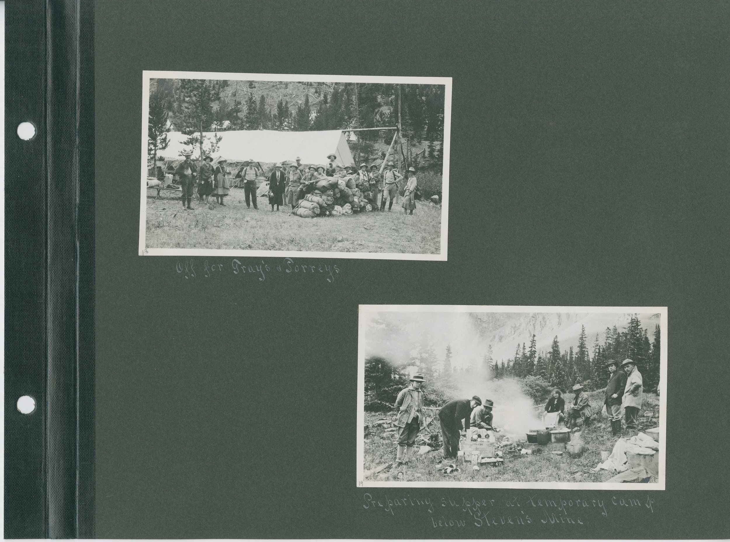Top: Off to Gray's & Torreys, Bottom: Preparing supper at temporary camp below Steven's Mine