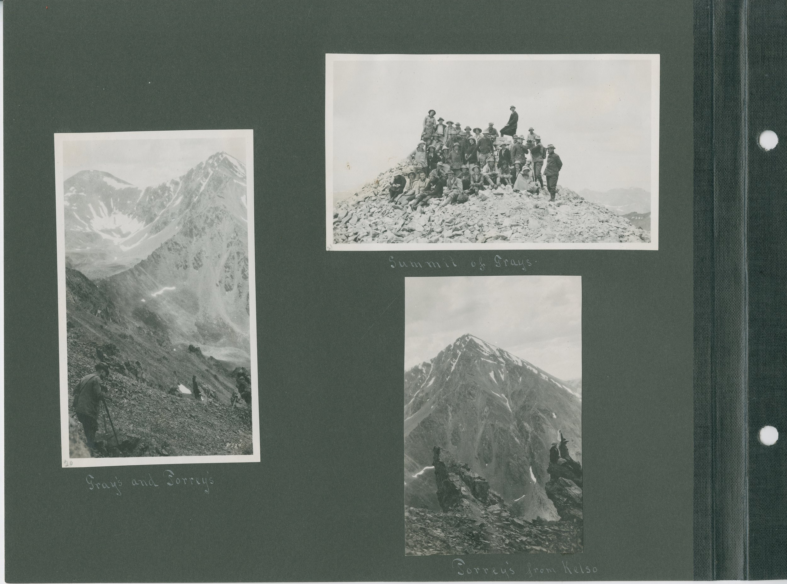 Left: Gray's and Torrey's, Top right: Summit of Gray's, and Bottom right: Torrey's from Kelso