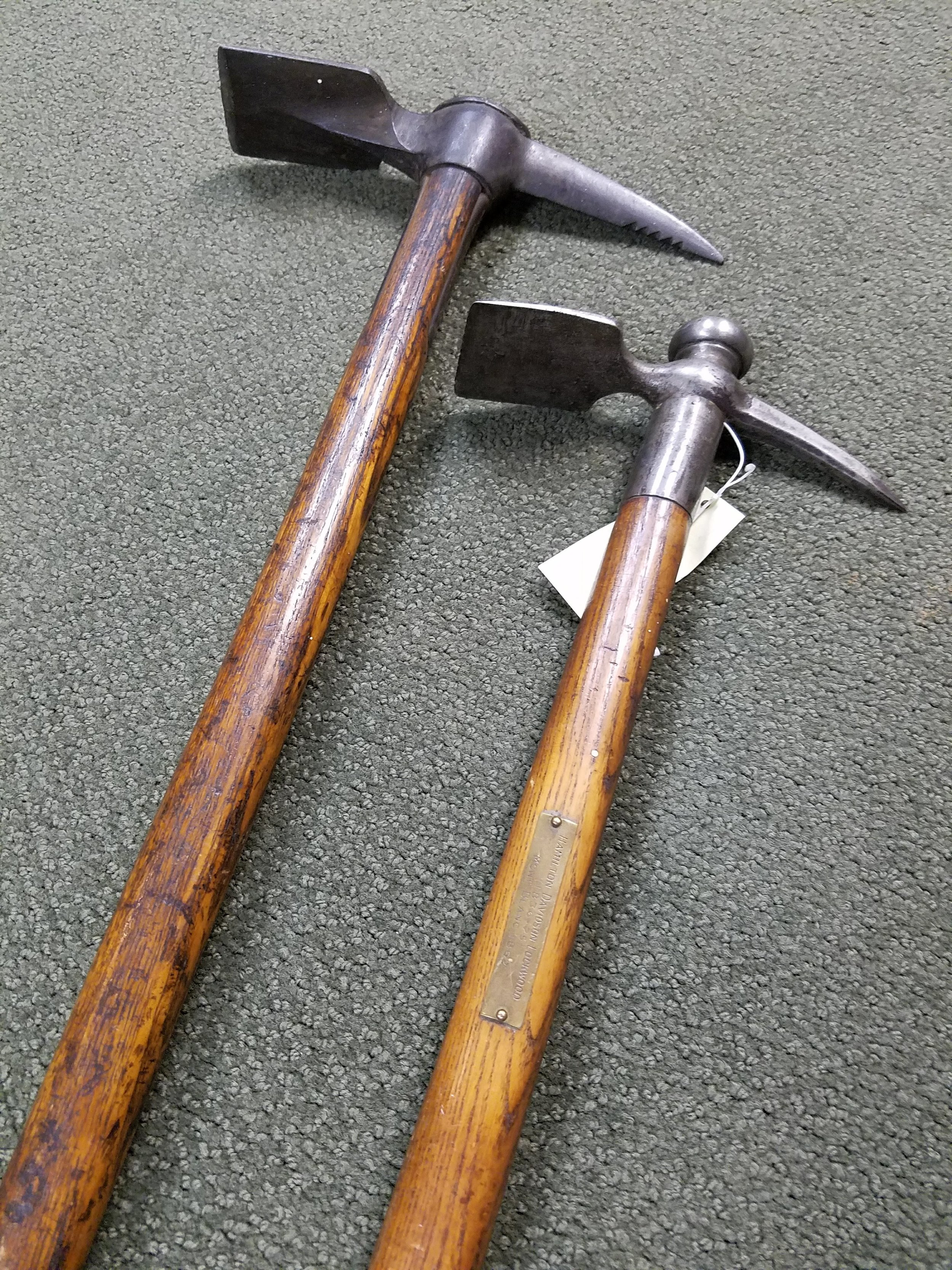 "Hamilton Davidson Lockwood's ice axe - inscribed on the metal plaque is: Mont Blanc 1862"" This was donated to the AAC archives by Mrs. Lockwood."