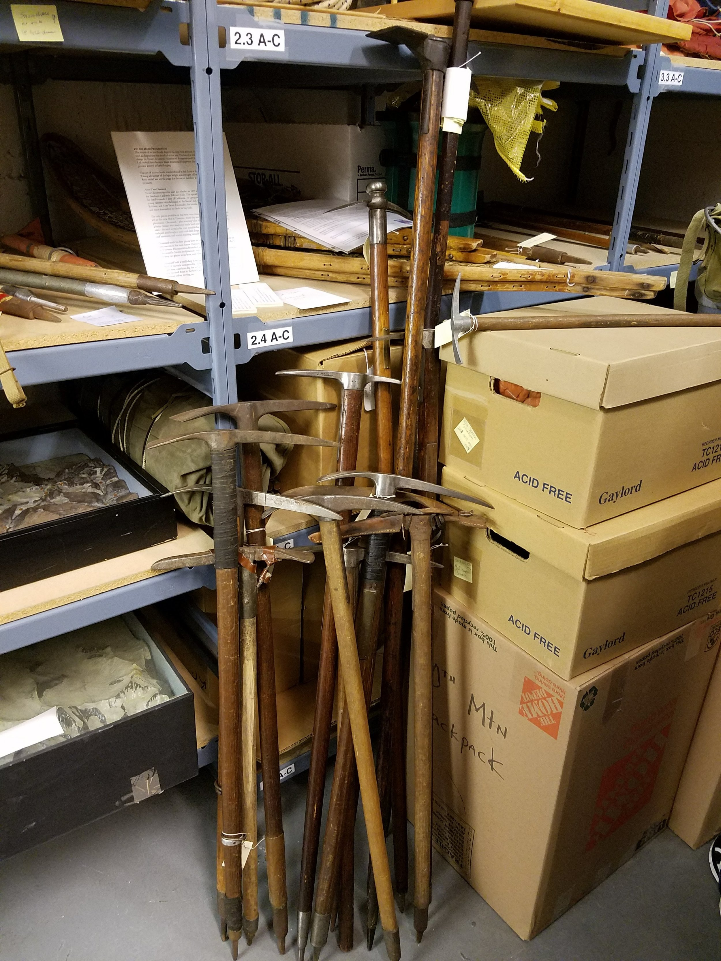 Some of our ice axes hanging out in the archives