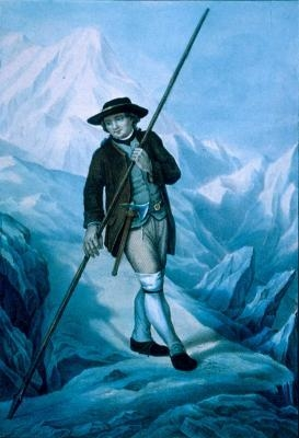 Jacques Balmat with an original alpenstock. He has an ice axe at his belt for cutting steps into the snow.