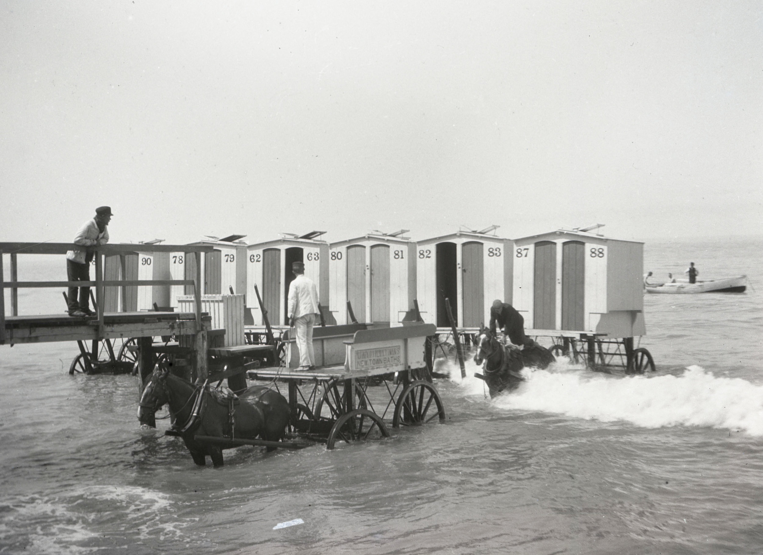Bathing machines at Margate Beach - these carts were rolled into the sea with horses and served to allow women to preserve their modesty when swimming