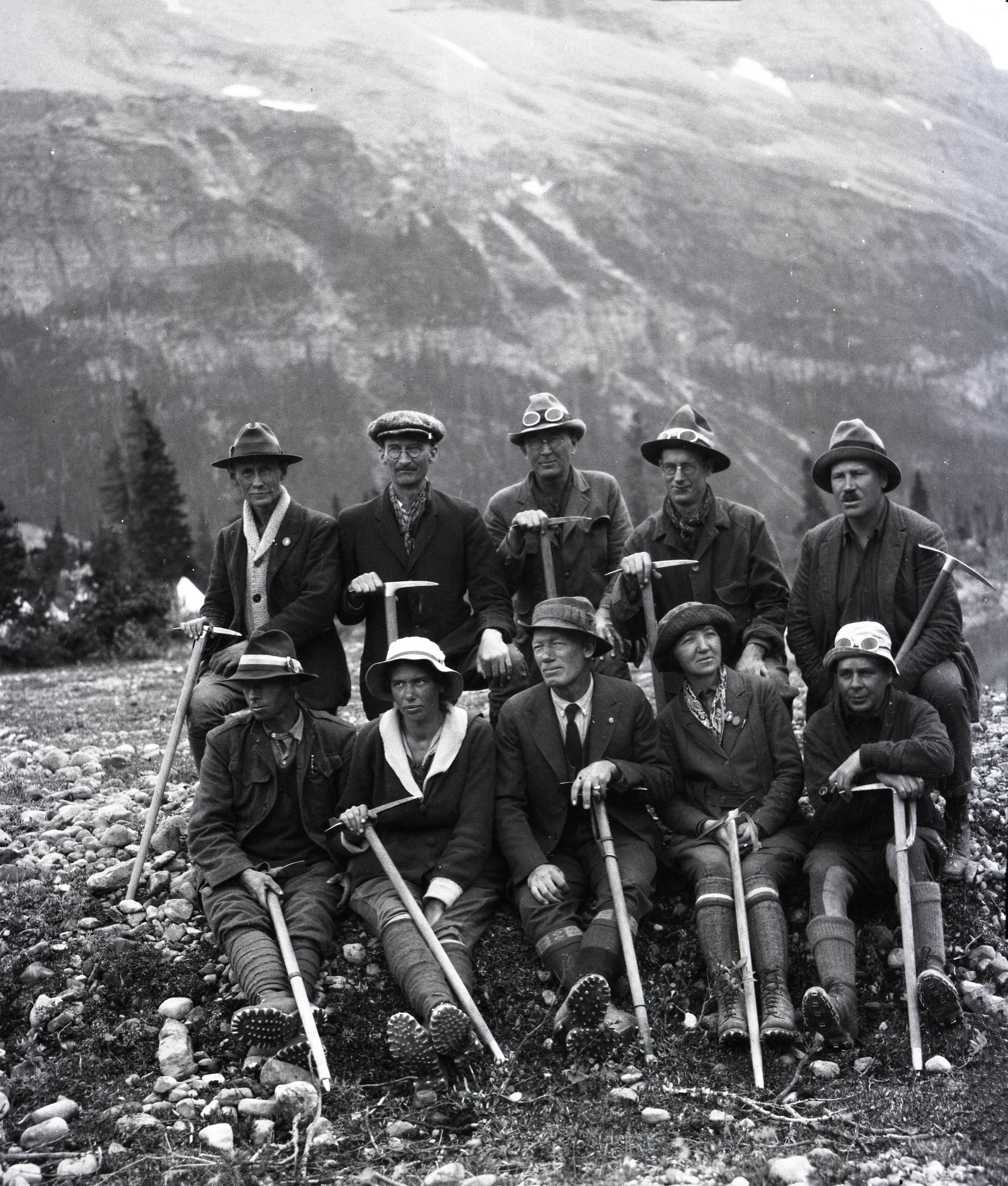 A group of climbers setting out for Mount Robson from an Alpine Club of Canada camp