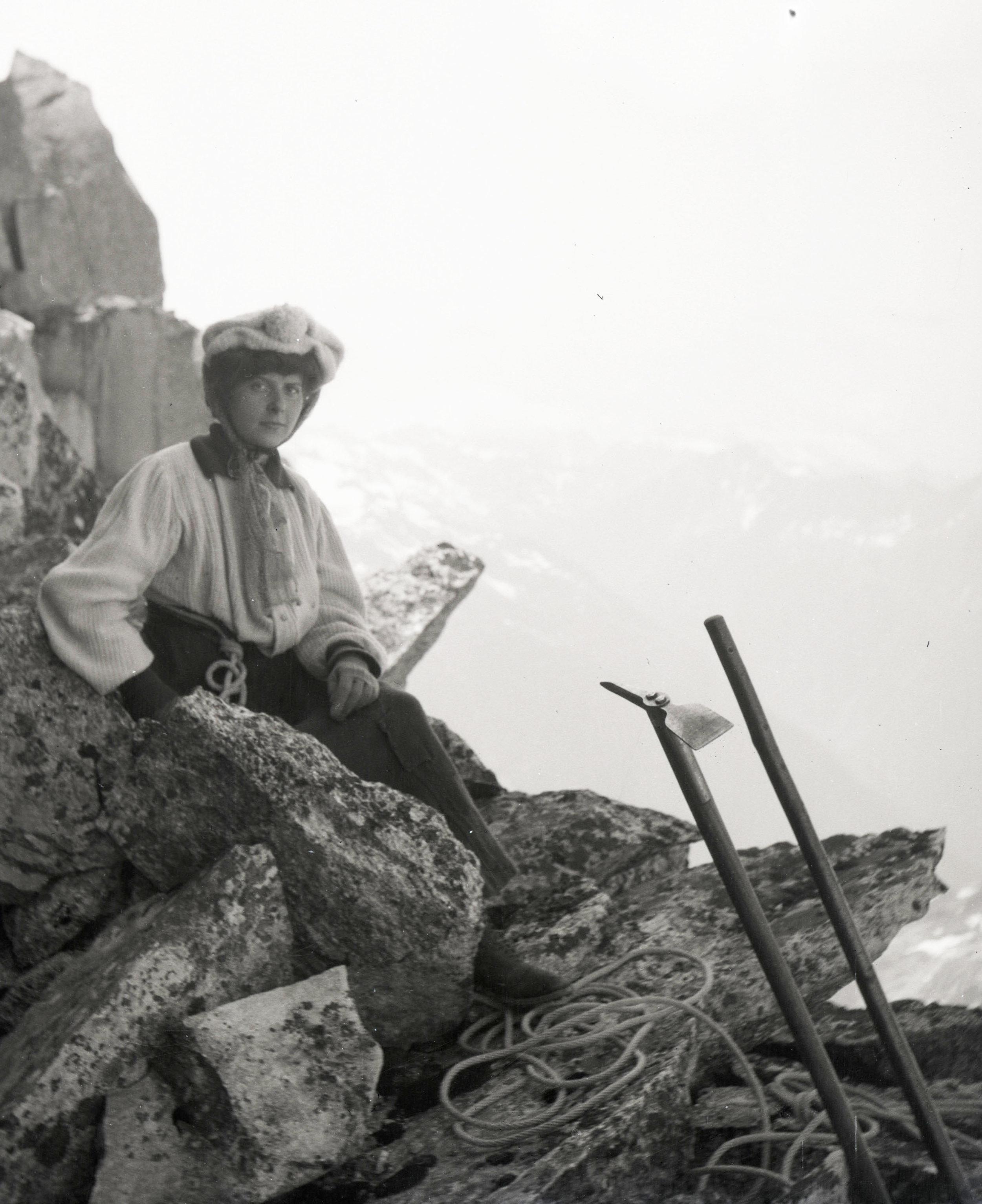 Ice axes and women's pre-1925 climbing attire.
