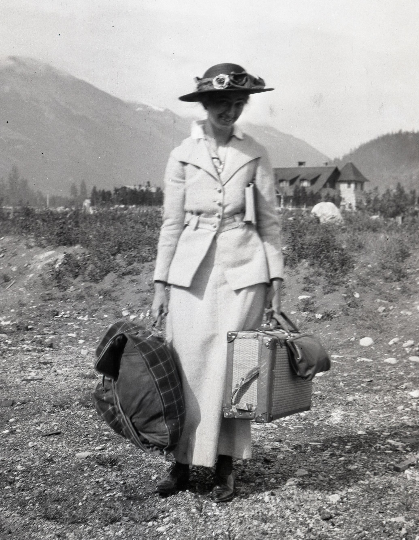 Miss Candace Hewitt arrives in Jasper to climb Resplendent Mountain.
