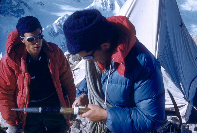 Pete and Buck preparing for the summit in Balcony Camp.