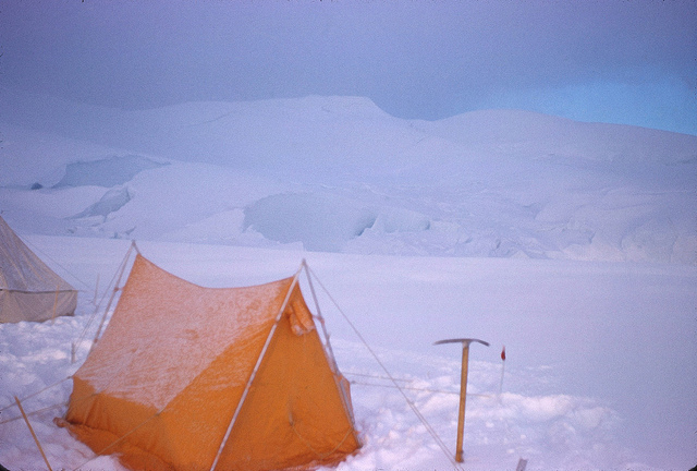 Glacier Camp after summiting Mt. McKinley, with traces of fresh snow.