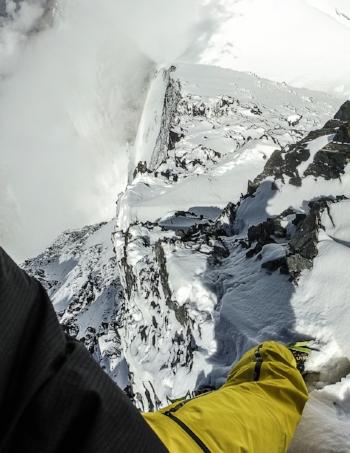 Steep, loose terrain on the upper northwest ridge of Lupghar Sar West.