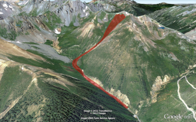 Images showing the power and scale of the avalanche near Ophir Pass, Colorado, that is discussed in this episode. Photo and Google Earth image courtesy of Colorado Avalanche Information Center