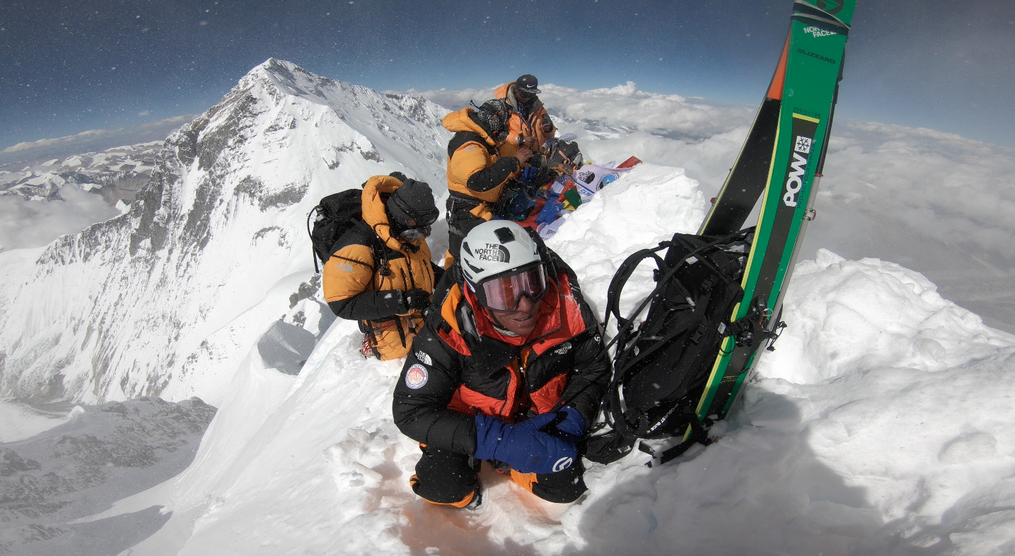 Above: The team on Lhotse's summit, with Mt. Everest in the background. Right: The Lhotse Face and the route from Camp 2 to the top.