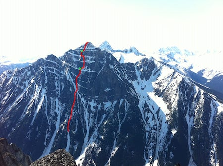 The Indirect American (about 1,000m high) on the north face of Mt. Macdonald.