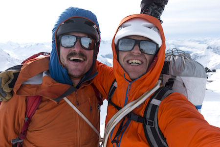 Zimmerman (left) and Wright on top of Mt. Macdonald.