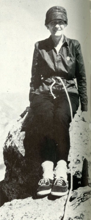 Miriam on Ago di Sciora photographed by Adolf Rubi. Photo from Give Me the Hills, 1971 edition.