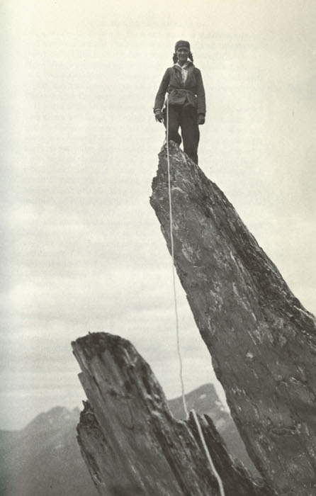 """""""On a gendarme in the Mittlegruppe of the Engelhörner."""" Photo by Adolf Rubi. From Give Me the Hills, 1971 edition."""