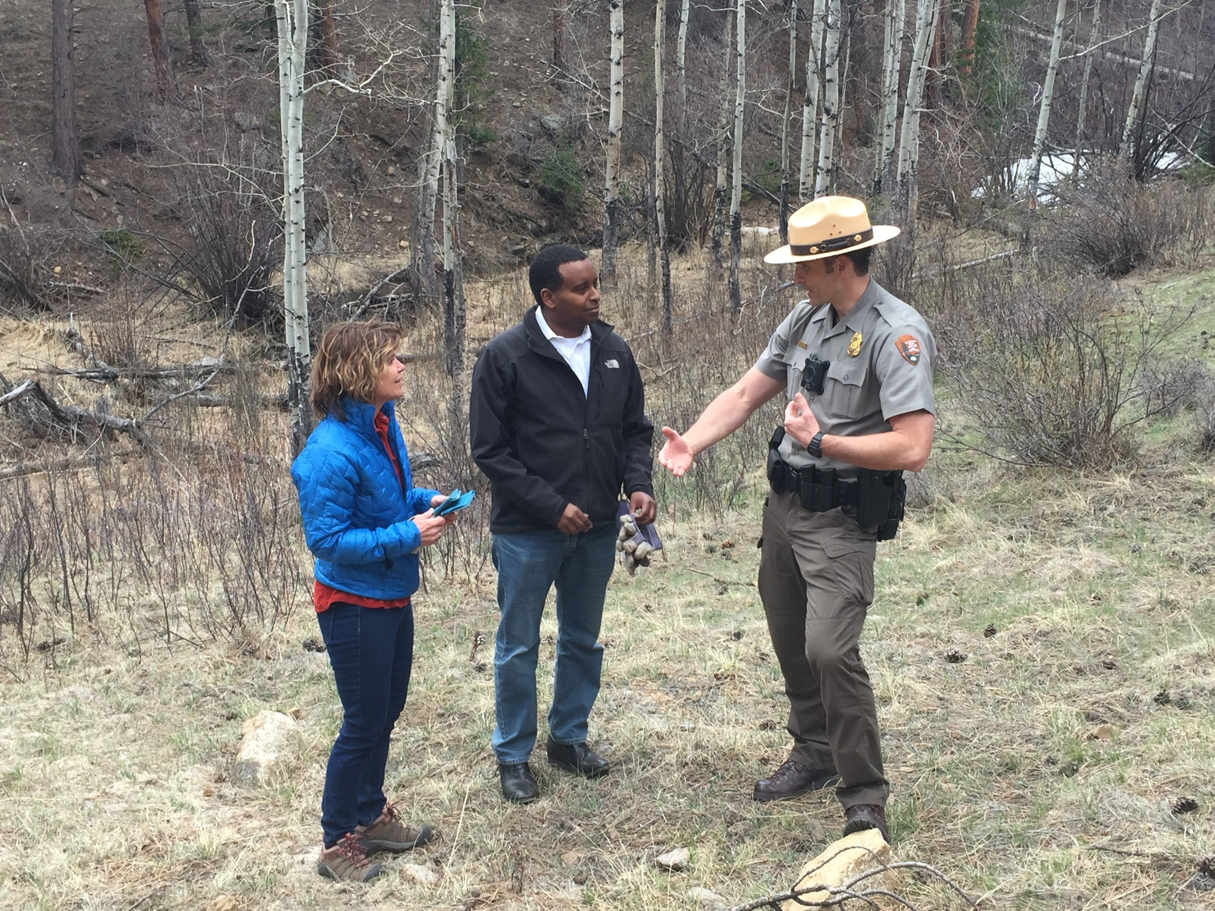 Neguse speaks with RMNP Administrators
