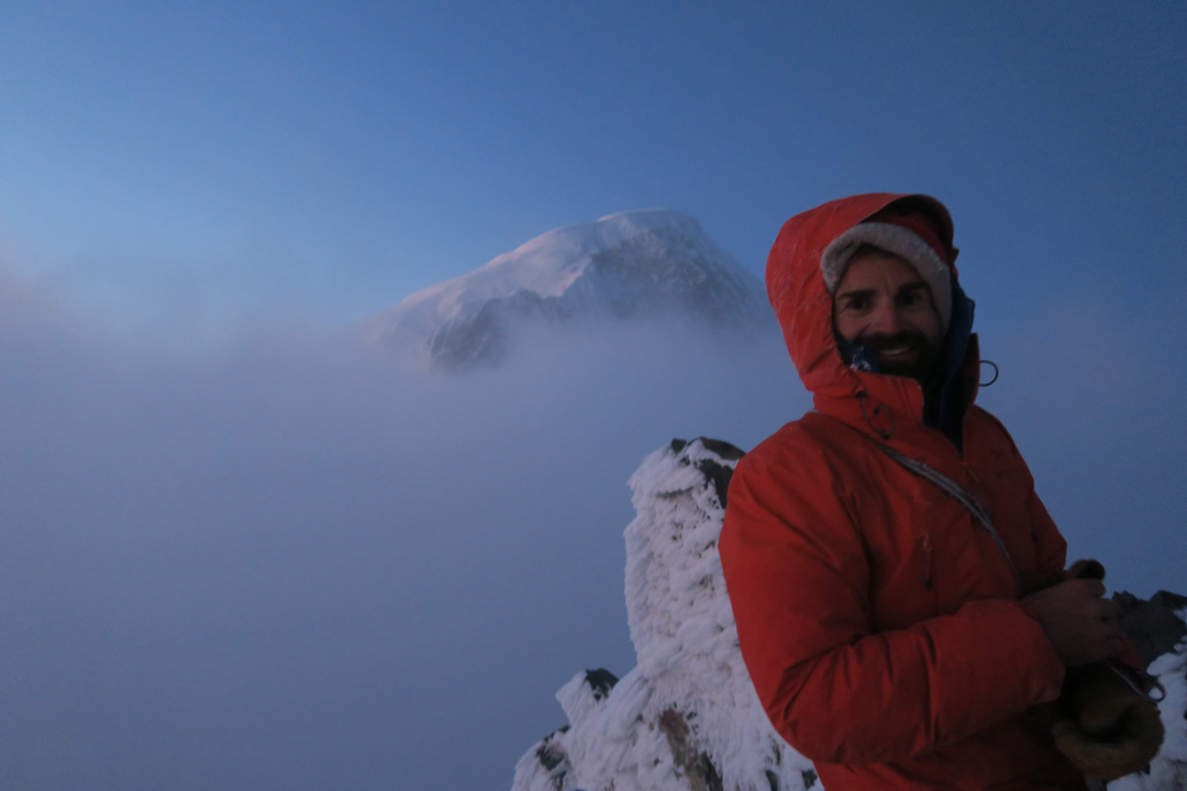 Francois Poncet on the summit of El Faro, the south pillar of Cerro San Lorenzo. Photos by Jerome Sullivan.