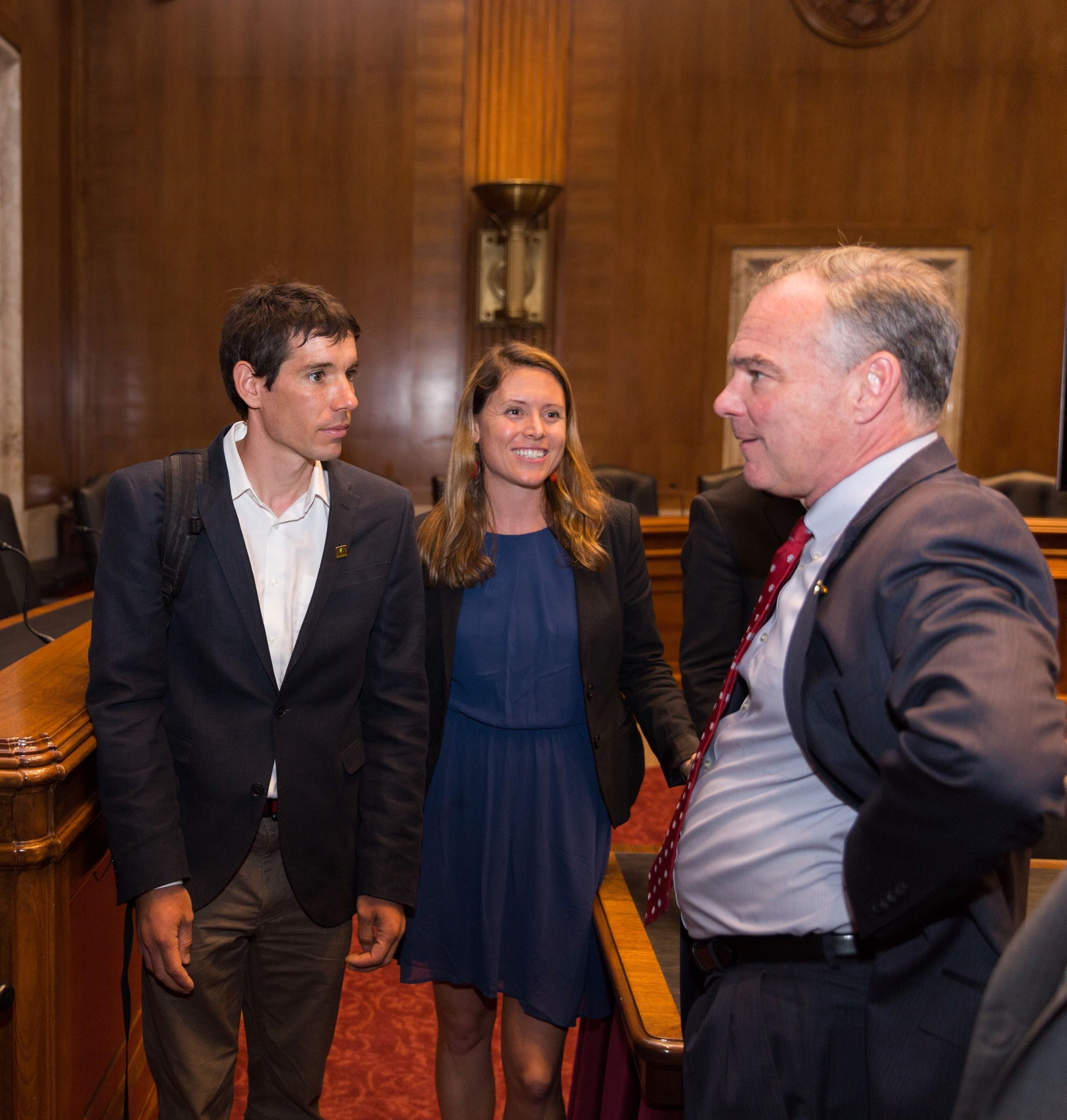 Maria Povec, American Alpine Club Policy & Programs Director, meeting with Alex Honnold and Tim Kaine during the congressional briefing at the annual Climb the Hill event in Washington, DC.