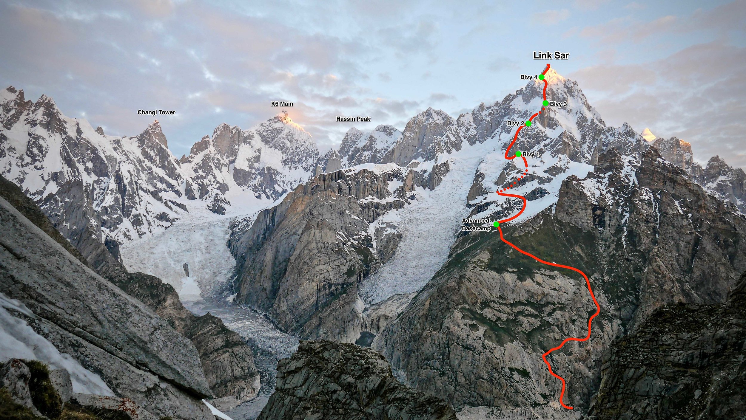 Link Sar (7,041m), showing the line of the first ascent on the southeast face. The team spent several weeks establishing a well-stocked advanced base camp (lowest green dot) and acclimatizing above it. The final push took nine days up and down, including a 36-hour stay at the second bivouac, waiting for a storm to clear. Photo courtesy of Matteo Della Bordella.