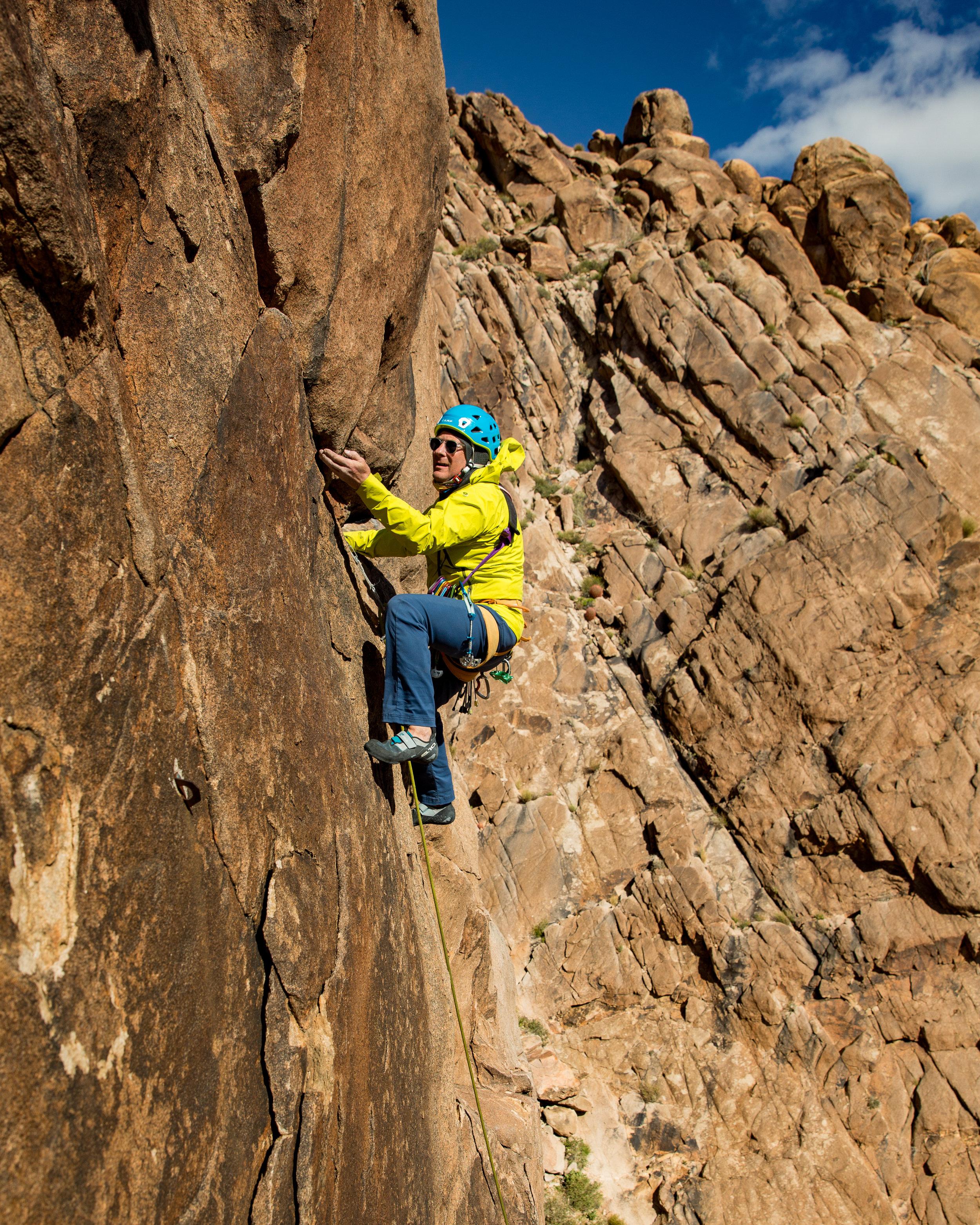 Powers climbs in Red Rocks. Photo: Irene Yee.