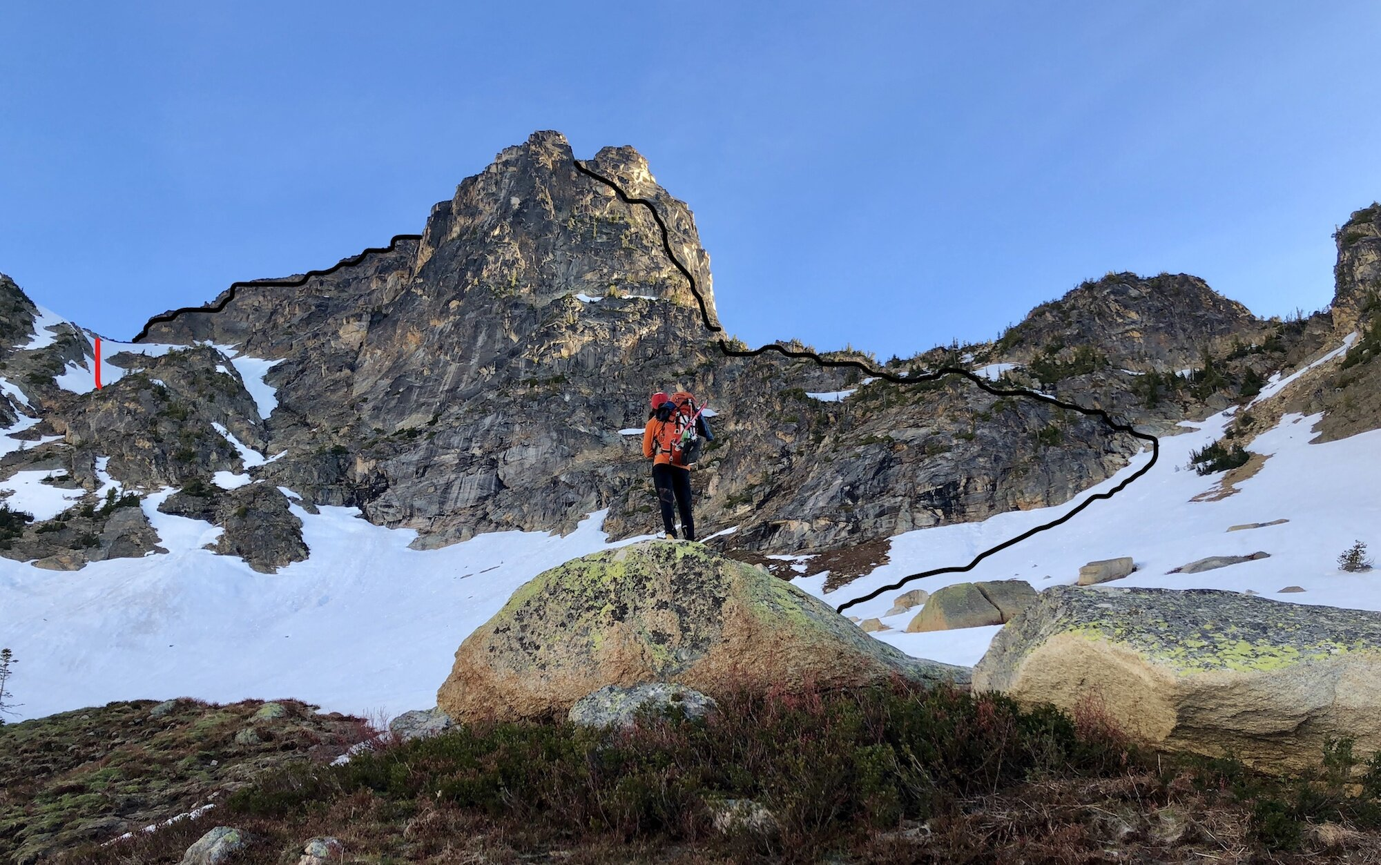 Looking up at Cutthroat Peak during the approach to the south ridge. The black lines mark the climb (right) and the initial descent. The red line on far left marks the snow slope where the fall occurred.