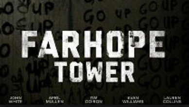 "A poster for Farhope Tower features the words ""GO UP"" scrawled repeatedly on a wall with arrows pointing upward."