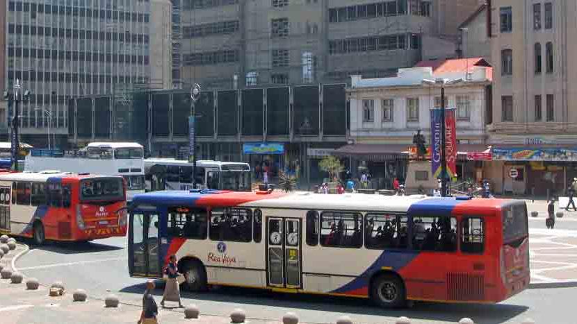 Rea Vaya (rapid bus transport) stop in Johannesburg.(Source:  City of Joburg )