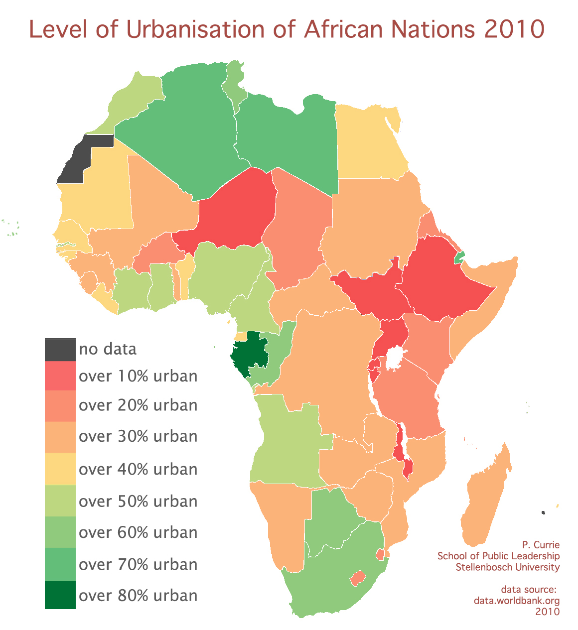 Levels of urbanisation in Africa. Source: Paul Currie (provided)