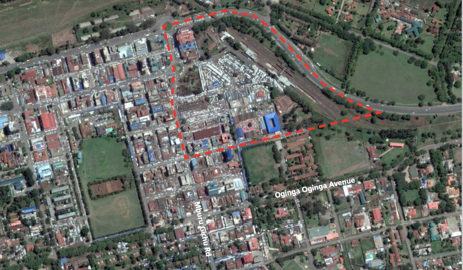 What would be your urban design solution for the busy transport interchange in Nakuru? Source: Google Earth, in UN Habitat project document (see below)