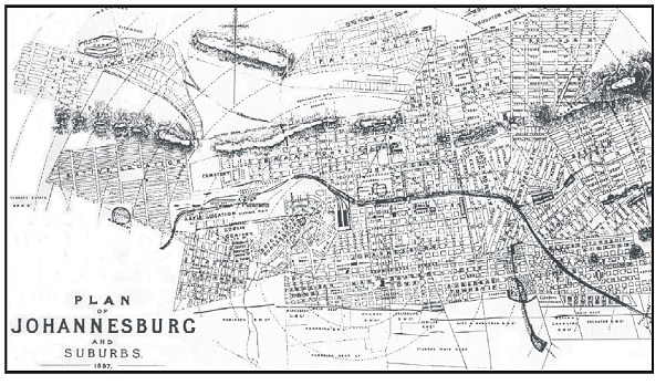 Johannesburg City plan, 1897. Source:  Newtown Heritage Trail .