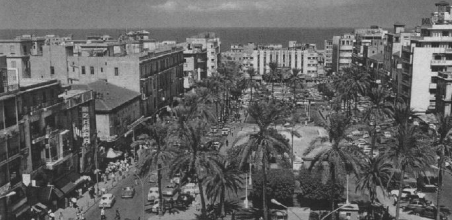 Postcard of Martyr's square before the war, facing north. Source: Saree Makdisi