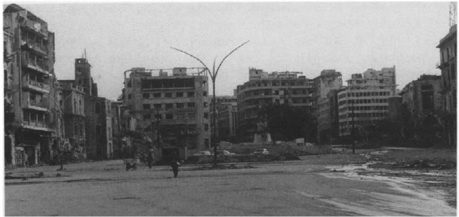 Martyr's square after the war but before the Solidere demolitions. Source: Saree Makdisi