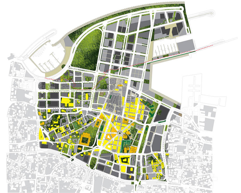 A 3D urban design plan that defines street form, building envelopes or control surfaces and maximum development heights. Specific areas are planned for low density, other appropriate areas for high density. Buildings must be designed to fit within defined envelope limits. Source: Angus Gavin in  Area Arch