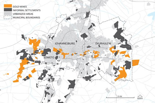 The spatial relationship between informal settlements, urban areas and gold mines. Source: Dorothy Tang and Andrew Watkins,  Places Journal