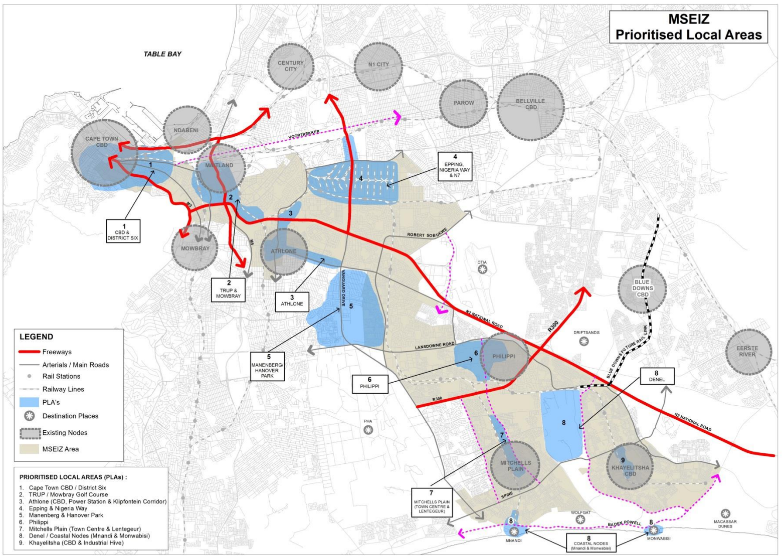 Metropolitan South East (MSE) Corridor. Credit: Built Environment Performance Plan, City of Cape Town