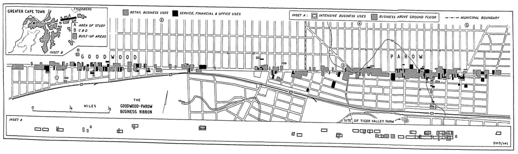 Davies' land use study of 1960 indicated potentials of developing a higher density 'business ribbon'