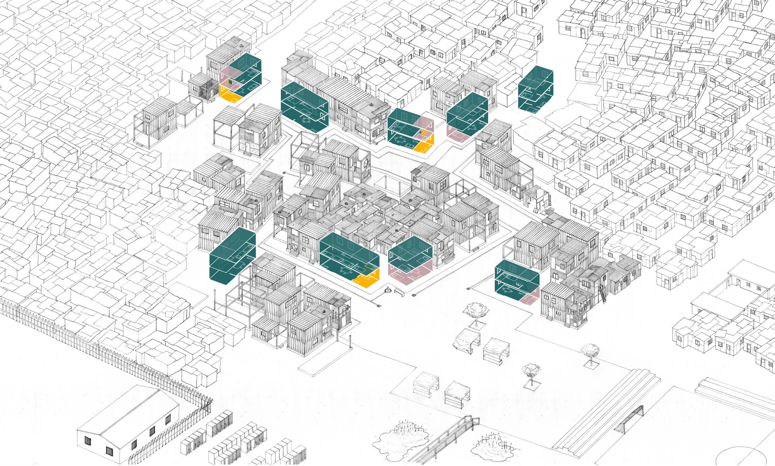 Incremental densification along key access routes opens space for quality public spaces which does not lead to the displacement of residents. Source: Author