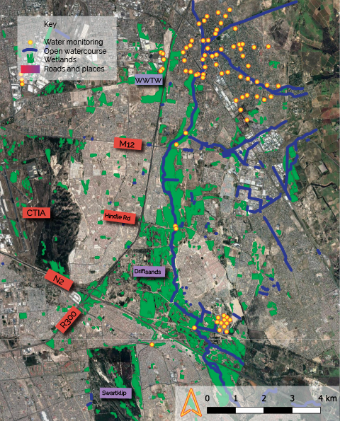 Basic GIS mapping of river section (2/3rds) in relation to wetlands and water quality monitoring points. Source: Making of Cities, for EDP