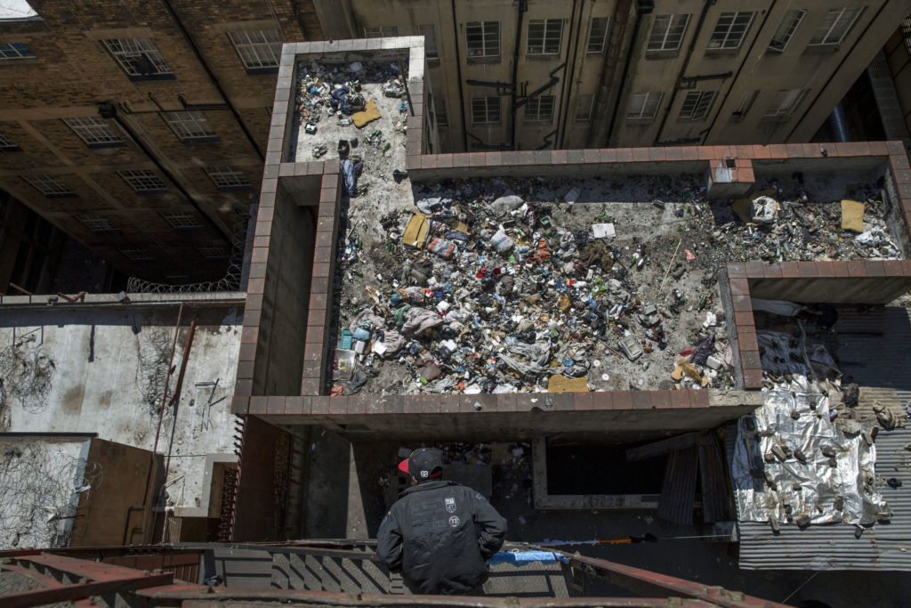 A 'hi-jacked' building in central Johannesburg. Photo by Jonathan Torgovnik/Getty Images Reportage