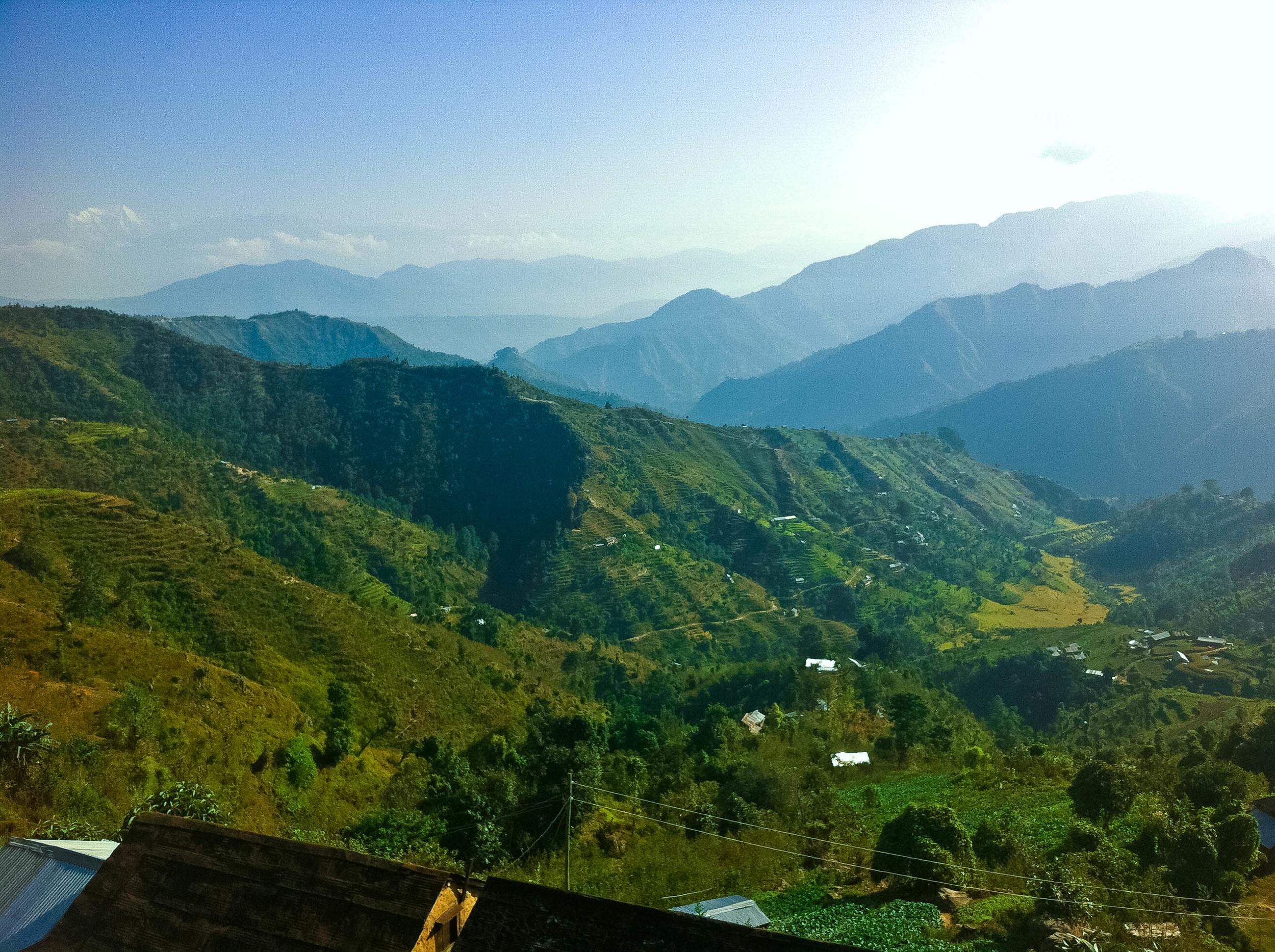 Agara, Makwanpur, with the Annapurna Himalaya faint in the distance.
