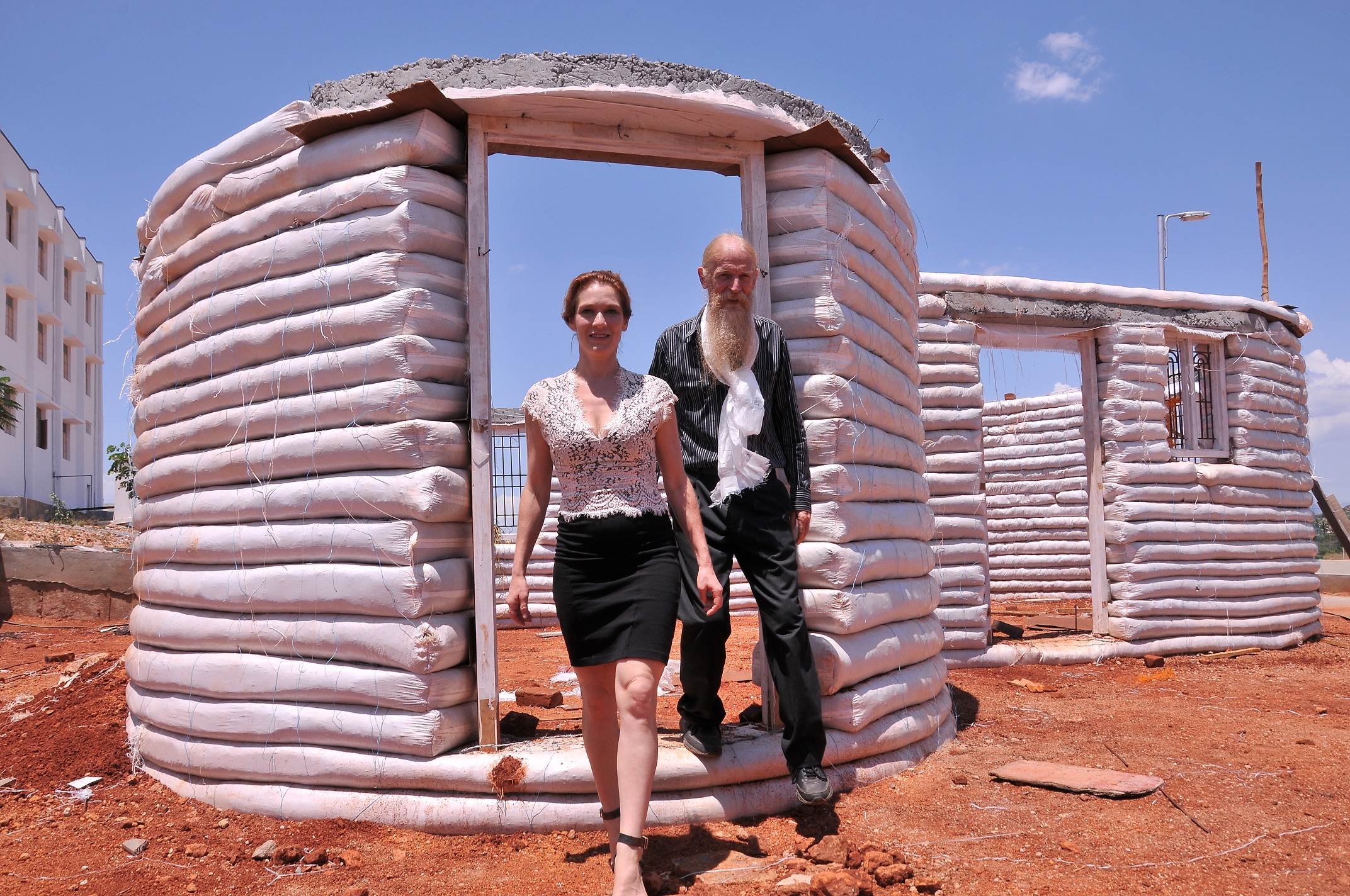 Kateryna Zemskova and Dr. Owen Geiger at the model Earthbag building, Anna University Campus, Madurai