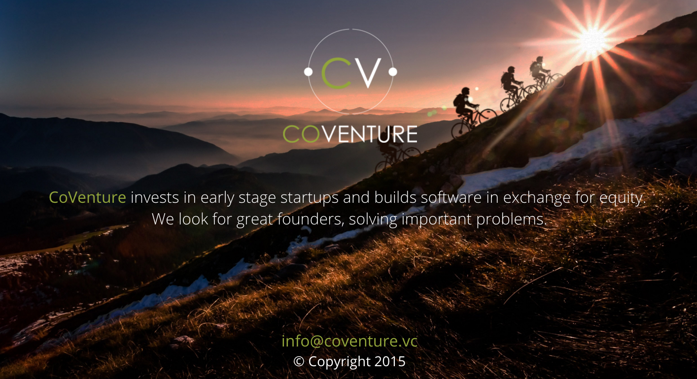 CoVenture landing page:www.coventure.vc