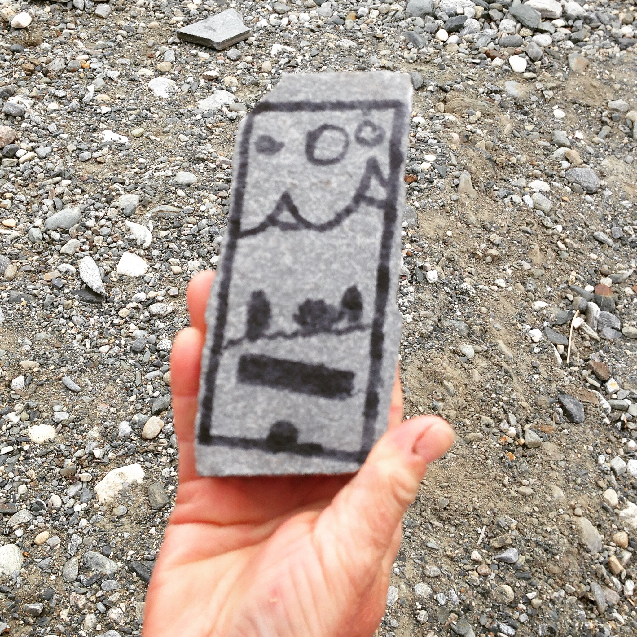 Kids making an iPhone in the mountains. Background photo of the Rondane mountains.