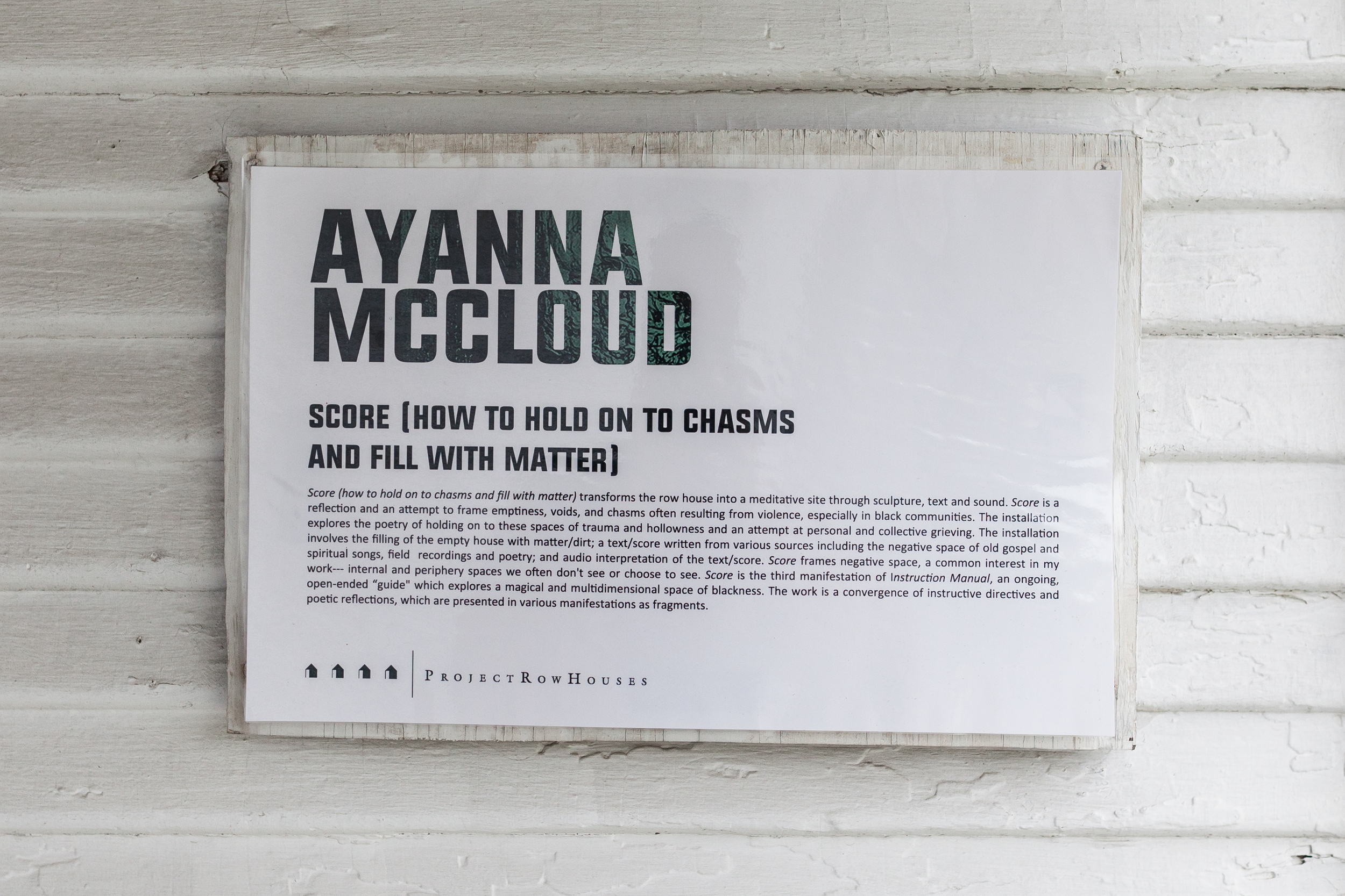 Ayanna Jolivet Mccloud, Score (how to hold on to chasms and fill with matter)