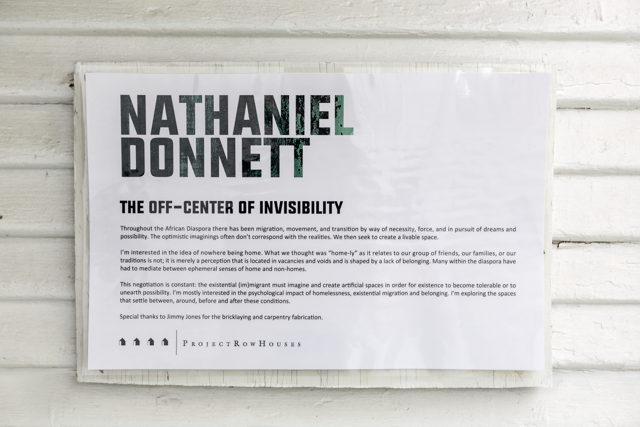Nathaniel Donnett, the off-center of invisibility